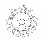 Cartoon Happy Little People Standing Around The Ball. Doodle Cute Miniature Scene About Soccer. Hand poster