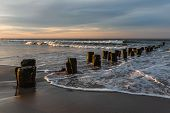 Early Morning On The Oceanfront. Atlantic Ocean Coastline Near New York In The Area Of Rockaway Park poster