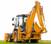 image of backhoe  - yellow backhoe on green grass isolated over white background - JPG