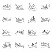 Vector Design Of Commercial And Vessel Sign. Collection Of Commercial And Speedboat Stock Symbol For poster