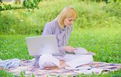 Business Lady Freelance Work Outdoors. Woman With Laptop Sit On Rug Grass Meadow. Steps To Start Fre poster