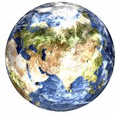 Global Cooling On The Planet Earth Of Solar System Isolated On White Background. Europe And Africa V poster