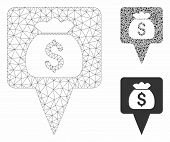 Mesh Treasure Map Pointer Model With Triangle Mosaic Icon. Wire Carcass Triangular Mesh Of Treasure  poster