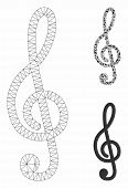 Mesh Treble Clef Model With Triangle Mosaic Icon. Wire Frame Triangular Network Of Treble Clef. Vect poster