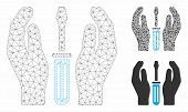 Mesh Tuning Screwdriver Care Hands Model With Triangle Mosaic Icon. Wire Frame Polygonal Mesh Of Tun poster