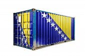 The Concept Of  Bosnia Herzegovina Export-import, Container Transporting And National Delivery Of Go poster
