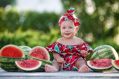 Child Eating Watermelon In The Garden. Kids Eat Fruit Outdoors. Healthy Snack For Children. Little G poster
