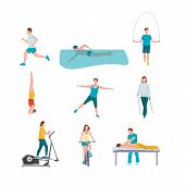 People Training Flat Illustrations Set. Healthy Lifestyle. Male, Female Vector Characters Doing Spor poster