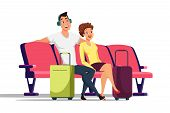 Couple In Waiting Room Flat Vector Illustration. Husband And Wife Sitting In Armchairs Cartoon Chara poster