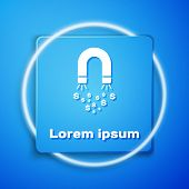 White Magnet With Money Icon Isolated On Blue Background. Concept Of Attracting Investments, Money.  poster