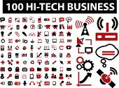100 hi-tech business icons & signs, vector