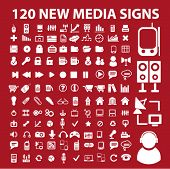 120 new media icons, signs, vector illustrations