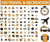 100 travel & recreation icons, signs, vector illustrations
