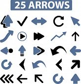 stock photo of bow arrow  - 25 arrows icons - JPG