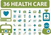 36 health & medicine icons, signs, vector illustrations
