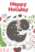 Cute Summer Kawaii Axolotl, Baby Amphibian Drawing. Happy Holiday Greeting Card With Lizard. Flat St poster