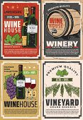 Winemaking House And Winery Grand Reserve. Vector Wine Production Factory And Shop, Wooden Barrels A poster