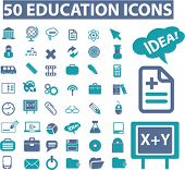 50 education icons, signs, vector illustrations