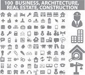100 business, real estate, construction icons, vector