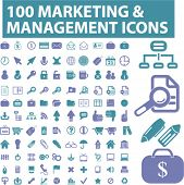 100 marketing & management icons, signs, vector illustrations