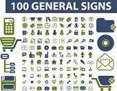 100 general signs, icons, vector illustration