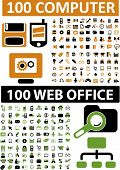 200 computer & web office icons set, vector illustration