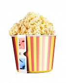 picture of matinee  - Bucket full of popcorn and 3D glasses isolated on white - JPG