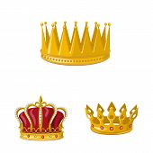 Vector Illustration Of Monarchy And Gold Symbol. Set Of Monarchy And Heraldic Stock Symbol For Web. poster
