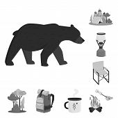 Vector Design Of Recreation And Tourism Symbol. Set Of Recreation And Wildlife Vector Icon For Stock poster