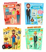 Business Manager, Farmer, Architect Engineer And Supermarket Seller Professions. Vector Cartoon Shop poster