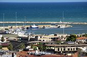 Port, Breakwater And Fishing Boats In The Port Of Giulianova, Abruzzo, Italy poster