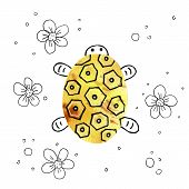 Illustration With Cartoon Turtle. Hand Drawing With A Flock Of Amphibians . Kids Products, Print, Fa poster