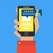 Feedback Customer Review Page On Smartphone, Rating And Customer Review Feedback Concept Vector Illu poster