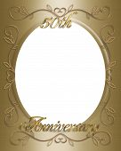pic of 50th  - 3D Illustrated design for 50th golden wedding Anniversary card frame or invitation - JPG