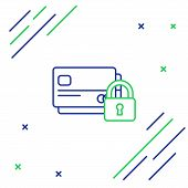 Blue And Green Line Credit Card With Lock Icon On White Background. Locked Bank Card. Security, Safe poster
