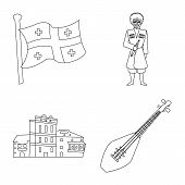 Vector Illustration Of Traditions And National Sign. Set Of Traditions And Sightseeing Stock Symbol  poster