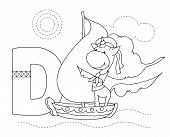 Letter D And Funny Cartoon Unicorn. Animals Alphabet A-z. Coloring Page. Printable Worksheet. Handwr poster
