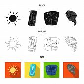 Vector Illustration Of Weather And Climate Sign. Collection Of Weather And Cloud Vector Icon For Sto poster
