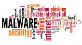 Malware Virus Software - Compromised Computer Security Concept. Word Cloud. poster