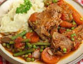 French navarin of lamb stew with mashed potatoes