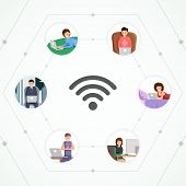 Global Network Flat Vector Illustration. Wireless Internet Access, Connection For Freelancers And Re poster