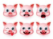 Pig Emoji Vector Set. Pigs Head Animals Emoticon With Emotions And Mood Like Hungry And Funny Isolat poster