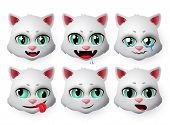 Emojis Cat Vector Set. Cute Cats Face Emoticons And Icon In Hungry And Crying Emotion For Signs And  poster