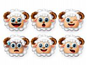 Lamb Sheep Emoji Vector Set. Cute Lamb Emojis And Sheep Emoticon With Facial Expression Of Hungry An poster