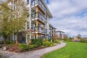 Modern Apartment Buildings in Vancouver, British Columbia, Canada. poster