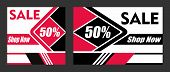 Banner 50% Sale Poster. Promotion Flyer, Discount Voucher Template Special Offer Market Brochure. Ve poster