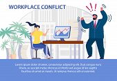 Workplace Conflict Flat Poster. Procrastination, Forbidden Phone Calls During Working Time. Angry Ma poster