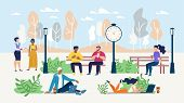 Office People Rest During Coffee Break In Park. Freelancers Working Online On Laptop In Public Place poster
