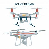 Two Different Police Drones, Unmanned Aerial Vehicles, Flat Style Vector Illustration Isolated On Wh poster