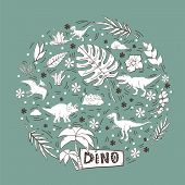 Vector Dinosaur In A Circle Set Isolated On A Blue  Background.wild Creature Predator.dinosaur Perio poster